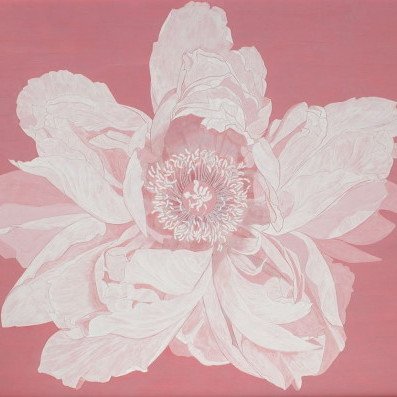 吉野川 / YOSHINOGAWA (peony) |  	雲肌麻紙 岩絵の具 にかわ(三千本) 	130.3 x 162.0cm 2002 	Linen mixed paper, Iwa-enogu (powdered rock pigments), nikawa (gelatin)