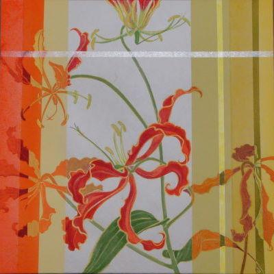 華手箱 / A Flower Case-12f |  軍道紙、バイアスコアパネル、顔料、にかわ(乾燥牛皮和膠)  30.0 x 30.0 cm 2012  Handmade mulberry paper,paper panel,pigments,glue(nikawa)