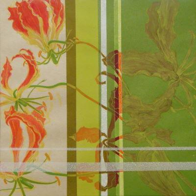 華手箱 / A Flower Case-12g |  軍道紙 バイアスコアパネル、顔料、にかわ(乾燥牛皮和膠)    30.0 x 30.0 cm 2012  Handmade mulberry paper,paper panel,pigments,glue(nikawa)