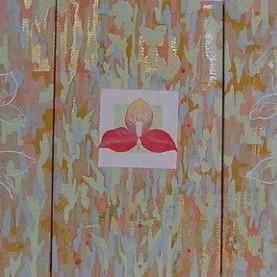 Disa ― 神々の花 ― / Disa - The Flower of the gods - |  雲肌麻紙 岩絵の具 寒冷紗 にかわ(三千本)  41.0 x 72.6 cm 2005  Linen mixed paper, Iwa-enogu ( powdered rock pigments ), lawn, nikawa ( gelatin )