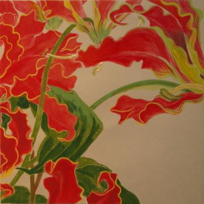 花変化(はなへんげ)栄光花(グロリオサ)/ Flower Transformation -Gloriosa- |  バイアスコアーパネル 軍道紙(ぐんどうがみ) 緑青 辰砂 コチニール 胡粉 籐黄 臙脂 墨 にかわ(三千本)   30 x 30 cm 2010  bias core panel,Gundougami ( handmade paper-mulberry ), natural pigments ( malachite, cinnabar, powdered shell, etc), sumi, nikawa ( gelatin )