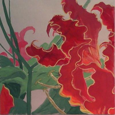 花変化(はなへんげ)栄光花(グロリオサ)/ Flower Transformation -Gloriosa- |  バイアスコアーパネル 軍道紙(ぐんどうがみ) 緑青 辰砂 朱 胡粉 籐黄 臙脂 金箔 にかわ(三千本)   30 x 30 cm 2010  bias core panel,Gundougami ( handmade paper-mulberry ), natural pigments ( malachite, cinnabar, powdered shell, etc), gold leaf, nikawa ( gelatin )