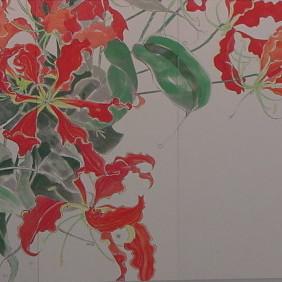 花変化(はなへんげ)/ Flower Transformation |  - グロリオーサ -   ( 左双)  軍道紙(ぐんどうがみ) 緑青 辰砂 コチニール 胡粉 籐黄 臙脂 墨 にかわ(三千本)  120.0 x 600.0 cm 2008  - Gloriosa-   ( left section )  Gundougami ( handmade paper-mulberry ), natural pigments ( malachite, cinnabar, powdered shell, etc), sumi, nikawa ( gelatin )