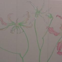 花変化(はなへんげ)/ Flower Transformation |  - グロリオーサ -   ( 右双)  軍道紙(ぐんどうがみ) 緑青 辰砂 コチニール 胡粉 籐黄 臙脂 墨 にかわ(三千本)  120.0 x 600.0 cm 2008  - Gloriosa-   ( right section )  Gundougami ( handmade paper-mulberry ), natural pigments ( malachite, cinnabar, powdered shell, etc), sumi, nikawa ( gelatin )