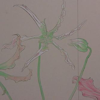 花変化(はなへんげ)/ Flower Transformation |  - グロリオーサ -   ( 右双部分 )  軍道紙(ぐんどうがみ) 緑青 辰砂 コチニール 胡粉 籐黄 臙脂 墨 にかわ(三千本)  120.0 x 600.0 cm 2008  - Gloriosa-   ( right section  detail)  Gundougami ( handmade paper-mulberry ), natural pigments ( malachite, cinnabar, powdered shell, etc), sumi, nikawa ( gelatin )