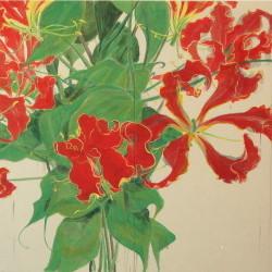 花変化(はなへんげ)栄光花 / Flower Transformation -Gloriosa- |  - グロリオーサ -   ( 左部分)  軍道紙(ぐんどうがみ) 緑青 辰砂 コチニール 胡粉 籐黄 臙脂 墨 にかわ(三千本)  120 x 240 cm 2009  - Gloriosa-   ( left section )  Gundougami ( handmade paper-mulberry ), natural pigments ( malachite, cinnabar, powdered shell, etc), sumi, nikawa ( gelatin )