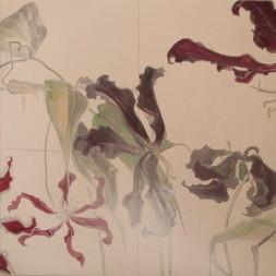 花変化(はなへんげ)栄光花 / Flower Transformation -Gloriosa- |  - グロリオーサ -   ( 右部分)  軍道紙(ぐんどうがみ) 緑青 辰砂 コチニール 胡粉 金泥 臙脂 墨 にかわ(三千本)  120 x 240 cm 2009  - Gloriosa-   ( right section )  Gundougami ( handmade paper-mulberry ), natural pigments ( malachite, cinnabar, powdered shell, etc), sumi, nikawa ( gelatin )