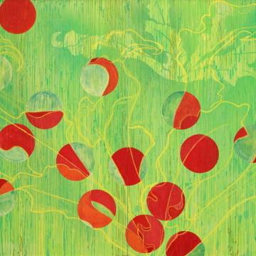 BETWEENn(はざまのN乗) |  雲肌麻紙 i岩絵の具 にかわ(三千本)  162.0 x 224.0 cm 2005  Linen mixed paper, Iwa-enogu (powdered rock pigments), nikawa ( gelatin)