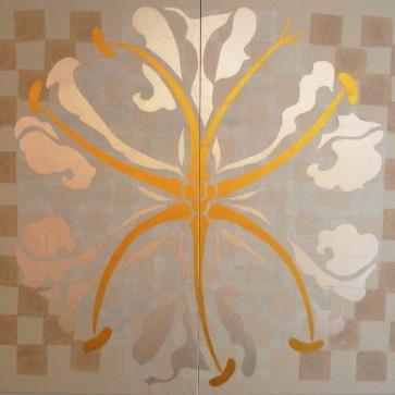 宝相華紋-栄光花- / Auspicious flower crest -Gloriosa- |  土佐麻紙 泰山紙 金箔 銀箔 アルミ箔 真鍮箔 にかわ  162 x 224 cm  2009  Japanese papers , metal leaf , glue( gelatin )