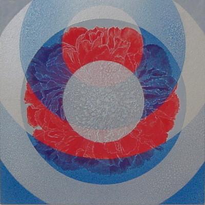 キララな調べ I / Rhapsody of Mica I |  雲肌麻紙 群青(アズライト) 朱 雲母 にかわ(三千本)  33.3x33.3 cm 2007  Linen mixed paper,Azurite,vermilion,mica,nikawa(gelatin)