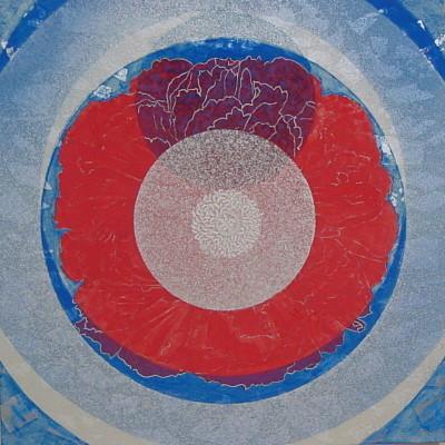 キララな調べ II / Rhapsody of Mica II |  雲肌麻紙 群青(アズライト) 朱 銀箔 雲母 にかわ(三千本)  33.3x33.3 cm 2007  Linen mixed paper,Azurite,vermilion,silver leaf,mica,nikawa(gelatin)