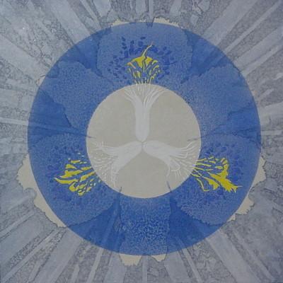 ラピスラズリな夢 II / Dream of Lapislazuli II |  雲肌麻紙 瑠璃(ラピスラズリ) 銀箔 銀灰末 雲母(きら) 岩黄 にかわ(三千本)  33.3x33.3 cm 2006  Linen mixed paper,lapis lazuli,silver leaf,iwaki(yellow pigment),mica,nikawa(gelatin)