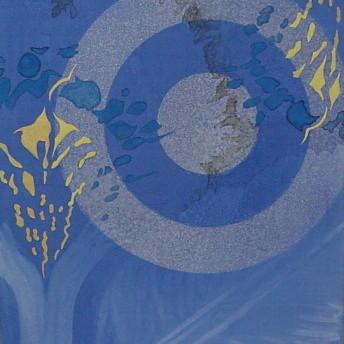 ラピスラズリな夢 III / Dream of Lapislazuli III |  雲肌麻紙 瑠璃(ラピスラズリ) ゴールドアフレア(金雲母) 雲母 岩黄 胡粉 墨 にかわ(三千本)  53.0x45.5 cm 2006  Linen mixed paper,lapis lazuli,gold mica,mica,iwaki(yellow pigment),whitewash,Chinese ink,nikawa(gelatin)