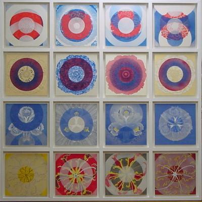 花紋曼荼羅 / Flower Crest Mandala |  和紙 岩絵の具 にかわ(三千本)  162.0 x 162.0 cm 2007  Japanese paper, Iwa-enogu, nikawa(gelatin)