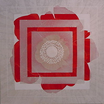 ONLY ONE    雲肌麻紙 岩絵の具 にかわ(三千本)  72.7 x 72.7 cm 2004  Linen mixed paper,Iwa-enogu( powdered rock pigments ),nikawa (gelatin)