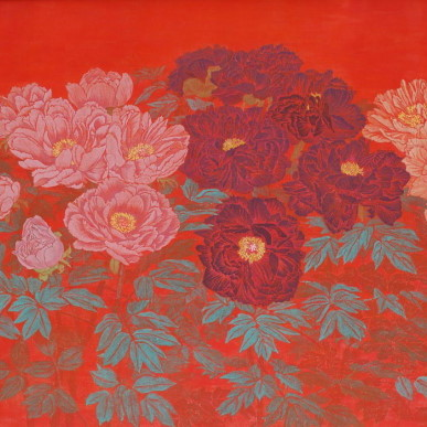 ぼたん V / Peony V |  	雲肌麻紙 岩絵の具 にかわ(三千本) 	 	91.0 x116.7  cm   2002 	 	Linen mixed paper,Iwa-enogu (powdered rock pigments),nikawa (gelatin).