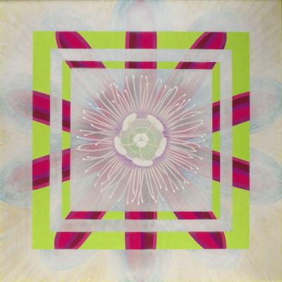 時計草 / Passion Flower    雲肌麻紙 岩絵の具 にかわ(三千本)  162.0 x 162.0 cm 2004  Linen mixed paper, Iwa-enogu ( powdered rock pigments ), nikawa ( gelatin )