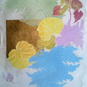 シダどくだみユキノシタ I / Fern Dokudami Saxifrage I |  土佐麻紙 岩絵の具 金箔 にかわ(三千本)  30 x24 cm  2009  a hemp paper , gold leaf , Iwa-enogu (powdered rock pigments), nikawa(gelatin)