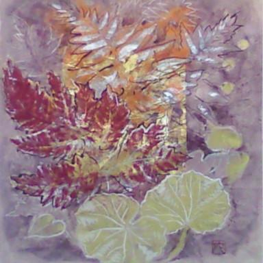 シダどくだみユキノシタ II / Fern Dokudami Saxifrage II |  土佐麻紙 岩絵の具 金箔 にかわ(三千本)  24 x23 cm   2009  a hemp paper , gold leaf , Iwa-enogu (powdered rock pigments), nikawa(gelatin)
