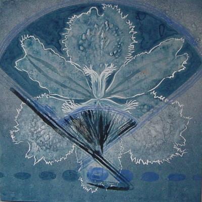 意匠と即興のはざまに遊ぶ / Playing between design and impromptu |  -著莪(しゃが)-  雲肌麻紙 藍 雲母 ラピスラズリ 銀箔 胡粉 墨 にかわ(三千本)  33.3 x 33.3 cm 2008  - Iris Japonica - Linen mixed paper, Iwa-enogu(powdered rock pigments), gofun(powdered shell), silver leaves, sumi, nikawa(gelatin)