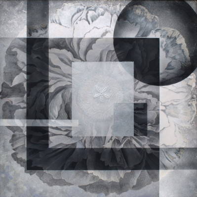 花-時の烙印-/ the Brand of Time |  素材:雲肌麻紙 銀箔 岩絵の具 にかわ(三千本)   サイズ:162.0 x 162.0 cm   制作年度:2005   hemp paper , silver leaf , Iwa-enogu (powdered rock pigments), nikawa(gelatin)