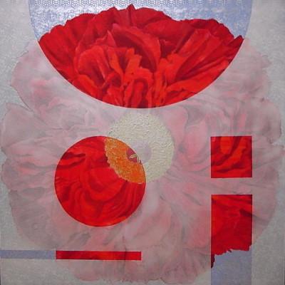 TRIMING |  雲肌麻紙 レース 岩絵の具 にかわ  162.0 x 162.0 cm 2004  hemp paper , lace , Iwa-enogu (powdered rock pigments), nikawa(gelatin)