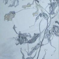 孕(よう)II / Expectant II |  軍道紙(ぐんどうがみ) 墨 金泥 にかわ(三千本)  120 x 60 cm 2009  Gundougami ( handmade paper-mulberry ), Sumi , gold paint , glue(gelatin)