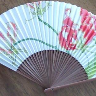 グロリオサ on 扇子/Gloriosa on a fan |  耐水性ペン 染料 扇子 22.5cm x 38cm 2013 waterproof pen,dye,fan