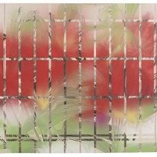 書院格子の向こうに/ Beyond shoin latticed window |  軍道紙 牛皮和膠 岩絵の具 墨 胡粉 80 x 160 cm 2014 Gundoukami(handmade paper mulberry), nikawa, mineral pigments, sumi, gofun