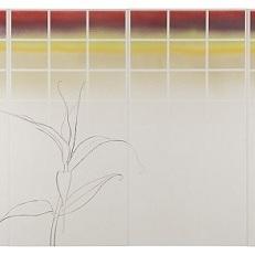 明かり障子をあければ/In opening akari syouji |  混合和紙 牛皮和膠 岩絵の具 墨 120 x 240 cm 2014 Japanese paper,nikawa,mineral pigments,sumi