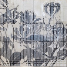 書院格子の向こうに14d/Beyond shoin latticed window14d  |  軍道紙 墨 胡粉 岩絵の具 銀箔 膠  80 x 160 cm 2015 Gundou-paper(handmade paper mulberry), sumi,gofun,mineral pigments,silver leaf,nikawa