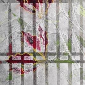 書院格子の向こうに15b/Beyond shoin latticed window15b |  軍道紙 墨 岩絵の具 胡粉 膠 22.7 x 15.8 cm (SM) 2015 Gundou-paper(handmade-paper mulberry),sumi,gofun,nikawa