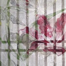 書院格子の向こうに15c/Beyond shoin latticed window15c |  軍道紙 墨 岩絵の具 胡粉 膠 22.7 x 15.8 cm (SM) 2015 Gundou-paper(handmadepaper-mulberry),sumi,mineral pigments,gofun,nikawa