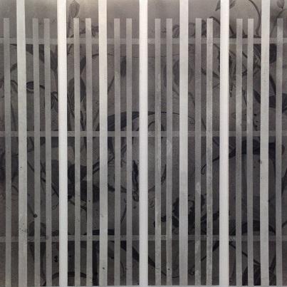 黄昏の染屋格子2016 / SOMEYA latticed window of twilight 2016 |  混合和紙(白峰) 墨 牛皮和膠  120 x 129 cm 2016 Japanese paper sumi Nikawa