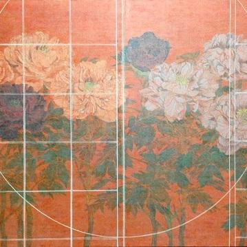 丸窓からの17b/From a round window 17b |  雲肌麻紙 岩絵の具 にかわ 楮紙 80.3 x 100 cm 2017 Japanese paper, rock pigment, nikawa,Kouzo paper