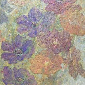 Wind flower 18a  |  雲肌麻紙 土佐麻紙 岩絵の具 膠 楮紙 33.3x24.2cm 2018 Japanese paper, rock pigment, nikawa,Kouzo paper