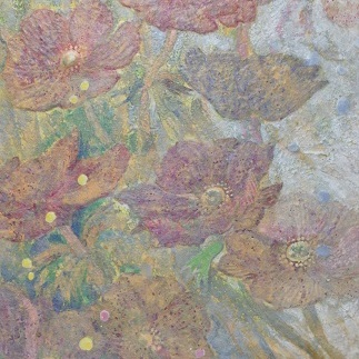 Wind flower 18b |  雲肌麻紙 土佐麻紙 岩絵の具 膠 楮紙 33.3x24.2cm 2018 Japanese paper, rock pigment, nikawa,Kouzo paper