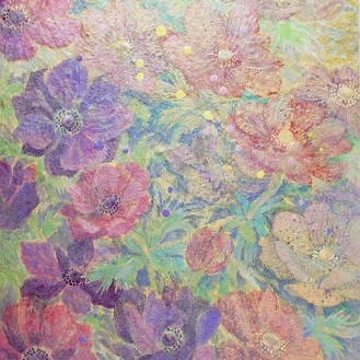 Wind flower 18c |  雲肌麻紙 土佐麻紙 岩絵の具 膠 楮紙 45.5x33.3cm 2018 Japanese paper, rock pigment, nikawa,Kouzo paper