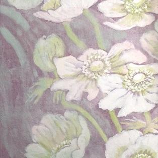 Wind flower 18o |  雲肌麻紙 土佐麻紙 岩絵の具 胡粉 膠 楮紙 27.3x19.0cm 2018 Japanese paper, rock pigment,seashell white, nikawa,Kouzo paper